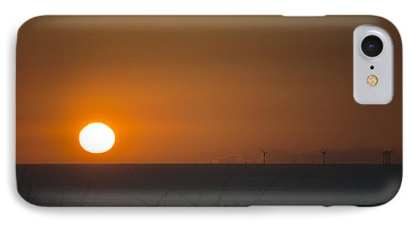 Sunset Over The Windfarm IPhone Case