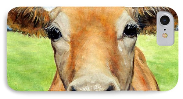 Cow iPhone 8 Case - Sweet Jersey Cow In Green Grass by Dottie Dracos