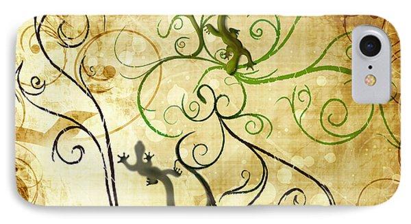 Swirl Geckos On Vintage Paper IPhone Case