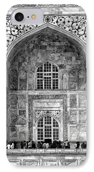 Taj Mahal Close Up In Black And White IPhone Case