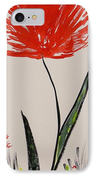Tall Red Wildflower IPhone Case