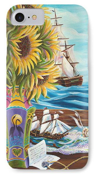 Tall Ships And Sunflowers IPhone Case