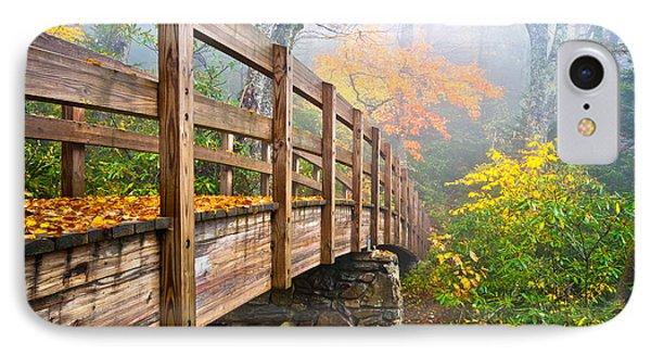 Tanawha Trail Foot Bridge - Rough Ridge Autumn Foliage Nc IPhone Case