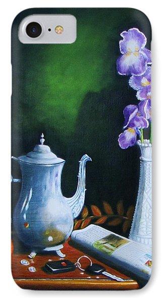 Tea Pot With Iris IPhone Case