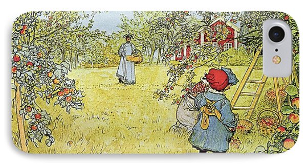 Rural Scenes iPhone 8 Case - The Apple Harvest by Carl Larsson