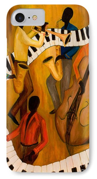 Trumpet iPhone 8 Case - The Get-down Jazz Quintet by Larry Martin