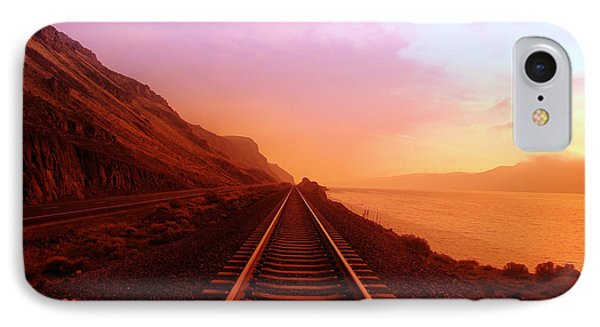 Train iPhone 8 Case - The Long Walk To No Where  by Jeff Swan