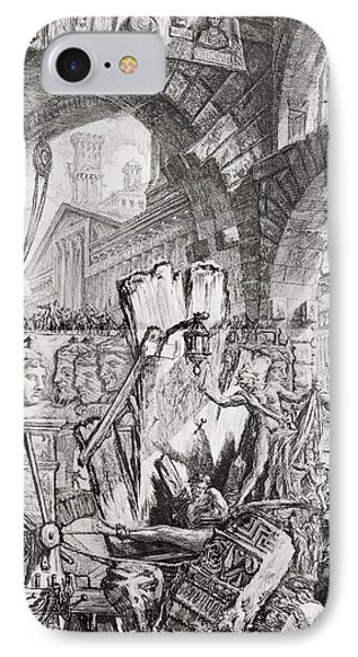 Dungeon iPhone 8 Case - The Man On The Rack Plate II From Carceri D'invenzione by Giovanni Battista Piranesi