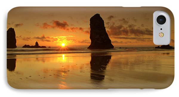 The Needles At Haystack - Cannon Beach Sunset  IPhone Case