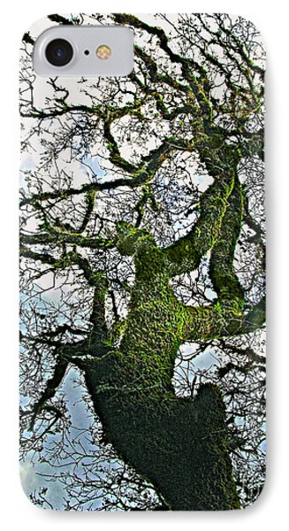 The Old Mossy Oak Tree Against Cloudy Sky IPhone Case