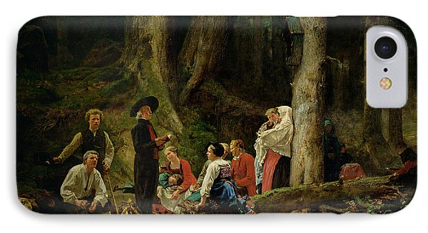 The Pilgrims From The Abbey Of St. Odile Oil On Canvas IPhone Case