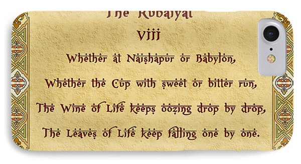 The Rubaiyat Viii Omar Khayyam  IPhone Case