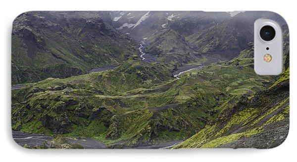 Thorsmork Toward Myrdalsjokull IPhone Case