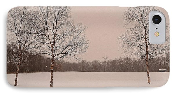Three Birch Trees In Winter IPhone Case