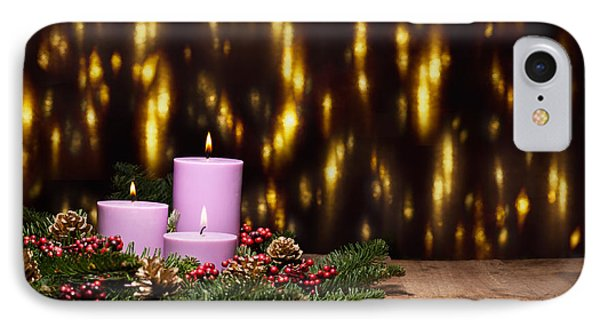 Three Candles In An Advent Flower Arrangement IPhone Case