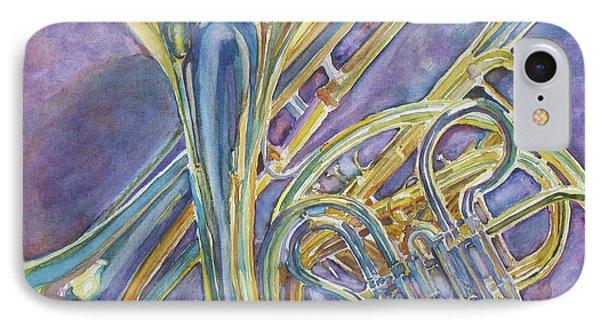 Trombone iPhone 8 Case - Three Horns by Jenny Armitage