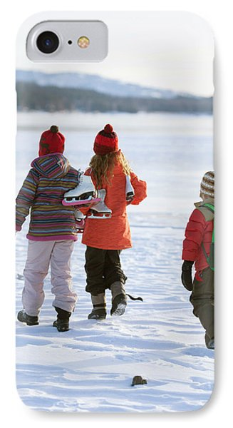 Knit Hat iPhone 8 Case - Three Kids Heading Out To Ice Skate by Woods Wheatcroft