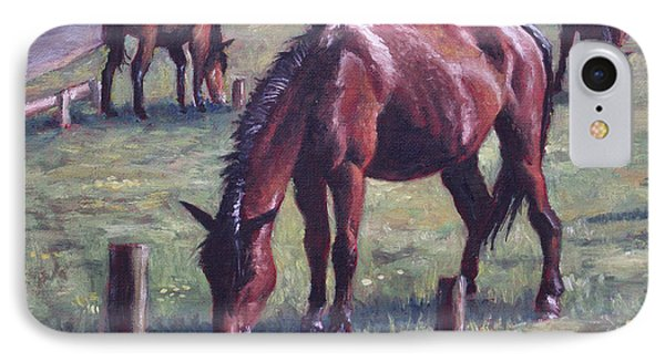 Three New Forest Horses On Grass IPhone Case