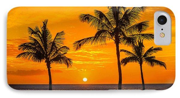 Three Palms Golden Sunset In Hawaii IPhone Case