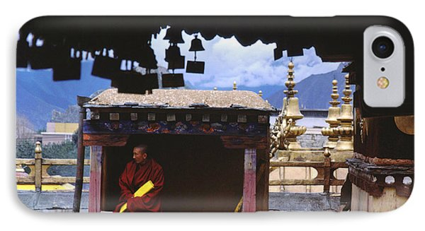 Tibetan Monk With Scroll On Jokhang Roof IPhone Case