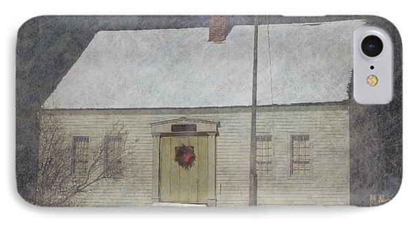 Traditional Snow Colonial Salt Box Home Christmas Card IPhone Case