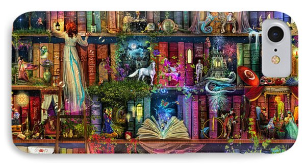 Wizard iPhone 8 Case - Fairytale Treasure Hunt Book Shelf by Aimee Stewart