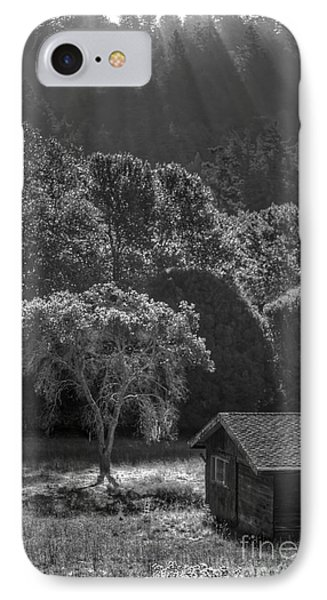 Tree And Barn On Foggy Morning IPhone Case