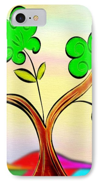 Tree On Rainbow Colored Landscape - Whimsical Artwork IPhone Case