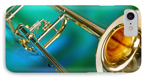 Trombone iPhone 8 Case - Trombone Against Green And Blue In Color 3204.02 by M K  Miller