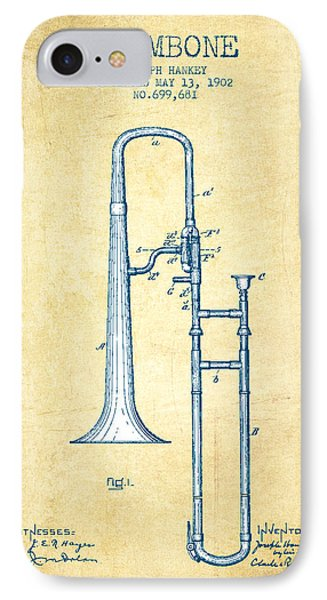 Trombone iPhone 8 Case - Trombone Patent From 1902 - Vintage Paper by Aged Pixel