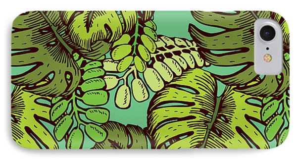 Collage iPhone 8 Case - Tropical Leaves Pattern by Tom And Kwikki