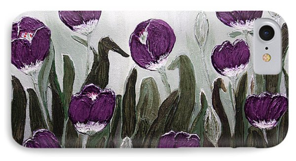 Tulip Festival Art Print Purple Tulips From Original Abstract By Penny Hunt IPhone Case