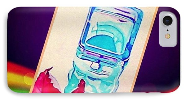 Turquoise Candle And Red Orange Leaf - Digital Artwork From Original Watercolor Painting IPhone Case