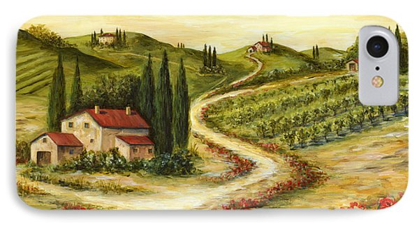 Tuscan Road With Poppies IPhone Case