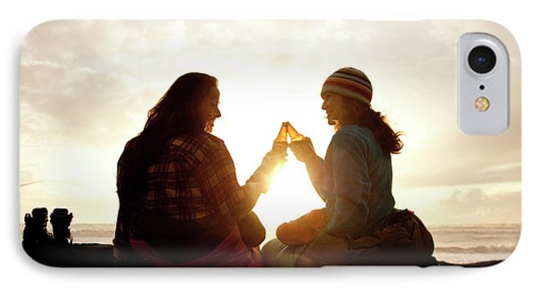Knit Hat iPhone 8 Case - Two Beautiful Women And Toast A Beer by Jordan Siemens