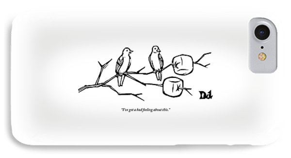 Two Birds Perch On A Branch That Has Marshmallows IPhone Case
