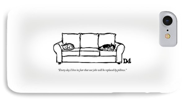 Two Cats Curl Up At Each End Of A Sofa IPhone Case