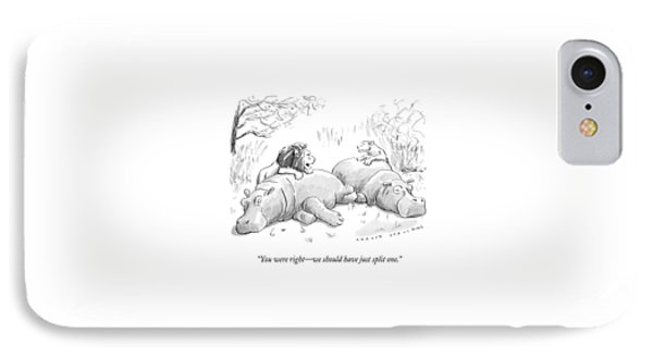 Two Lions Prepare To Dine On Two Hippopotami IPhone Case