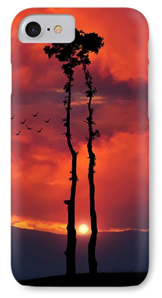 Two Oaks Together In The Field At Sunset IPhone Case