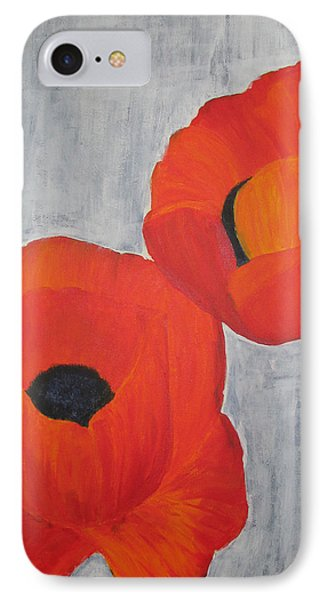 Two Poppies And Old Denim IPhone Case