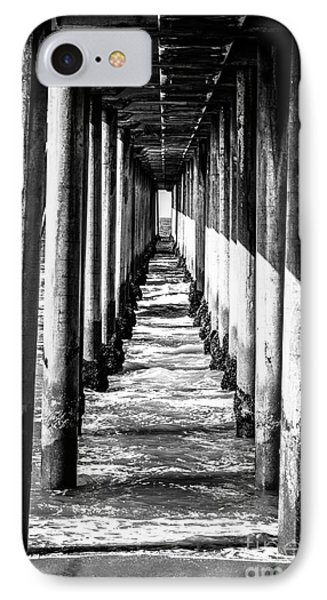 Under Huntington Beach Pier Black And White Picture IPhone Case