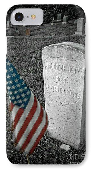 Union Army Civil War Veteran Headstone Hygiene Co IPhone Case