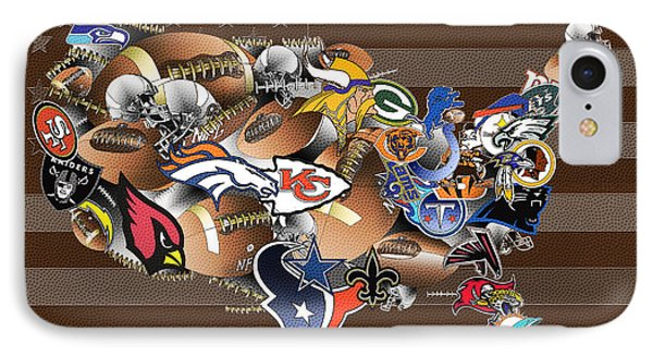 Usa Nfl Map Collage 2 IPhone Case