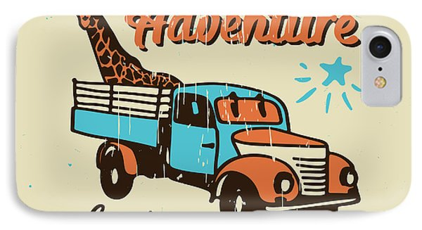 Truck iPhone 8 Case - Vector Poster The Adventure Begins by Ksenia Martianova