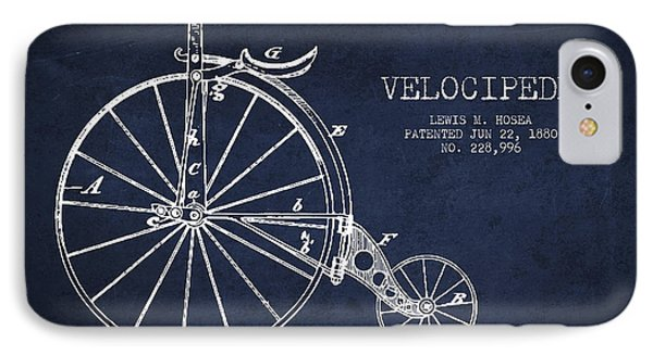 Velocipede Patent Drawing From 1880 - Navy Blue IPhone Case