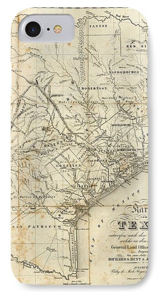 Vintage 1841 Texas Map IPhone Case