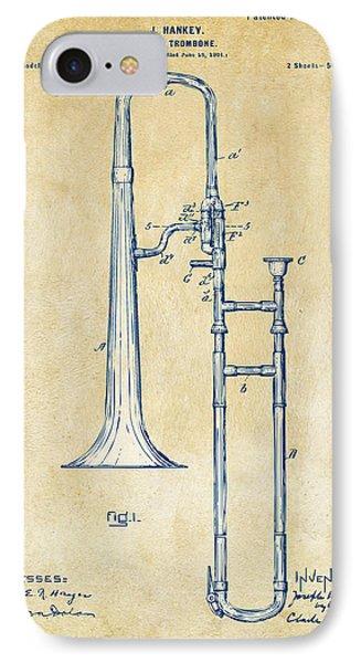 Trombone iPhone 8 Case - Vintage 1902 Slide Trombone Patent Artwork by Nikki Marie Smith