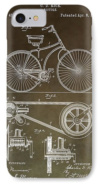 Vintage Bicycle Patent Brown IPhone Case