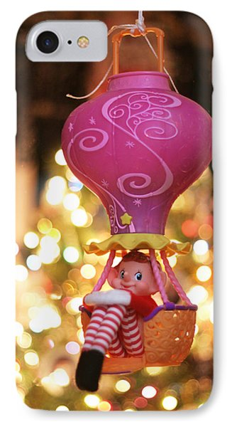 Vintage Christmas Elf Hot Air Balloon Ride IPhone Case