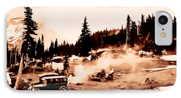 Vintage Mount Rainier Cars And Camp Grounds Early 1900 Era... IPhone Case